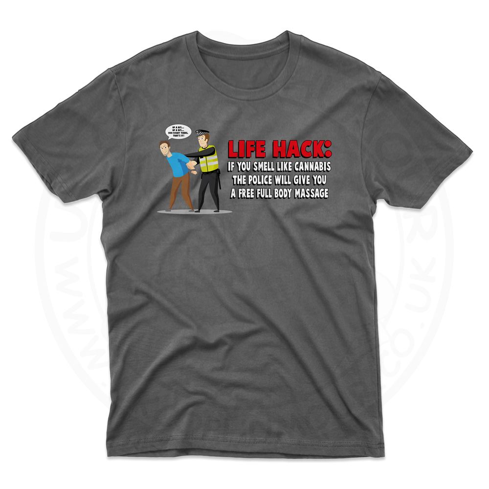 Mens Free Body Massage T-Shirt - Black, 5XL