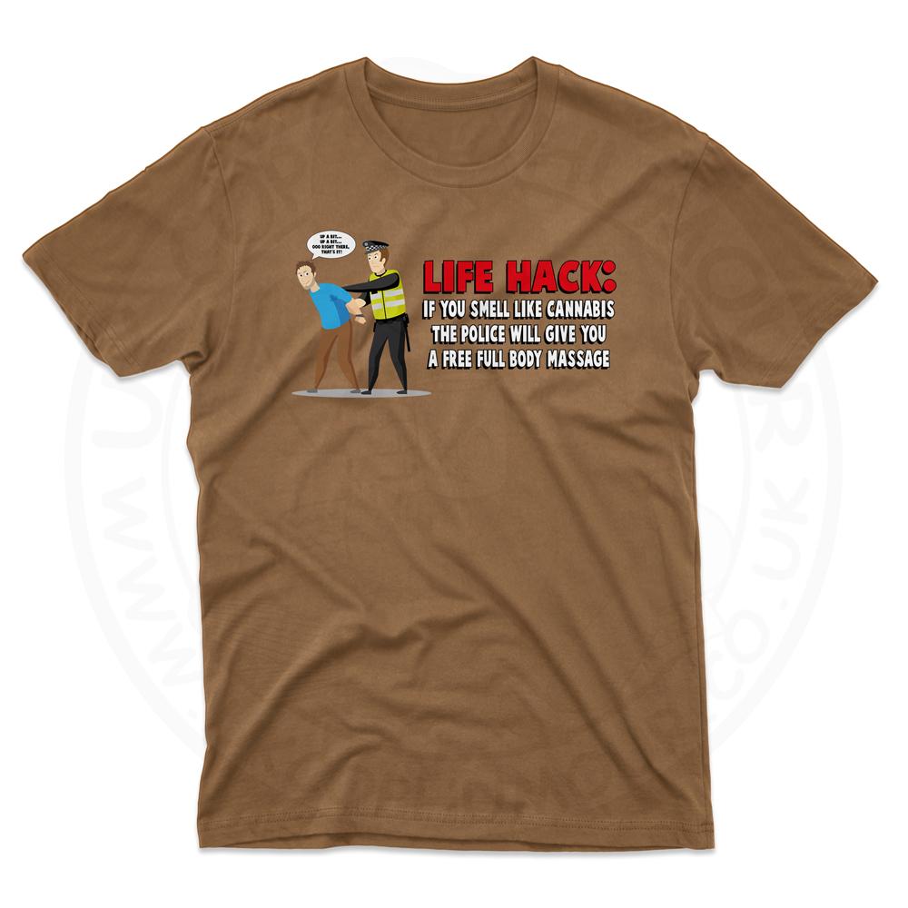 Mens Free Body Massage T-Shirt - Chestnut, 2XL
