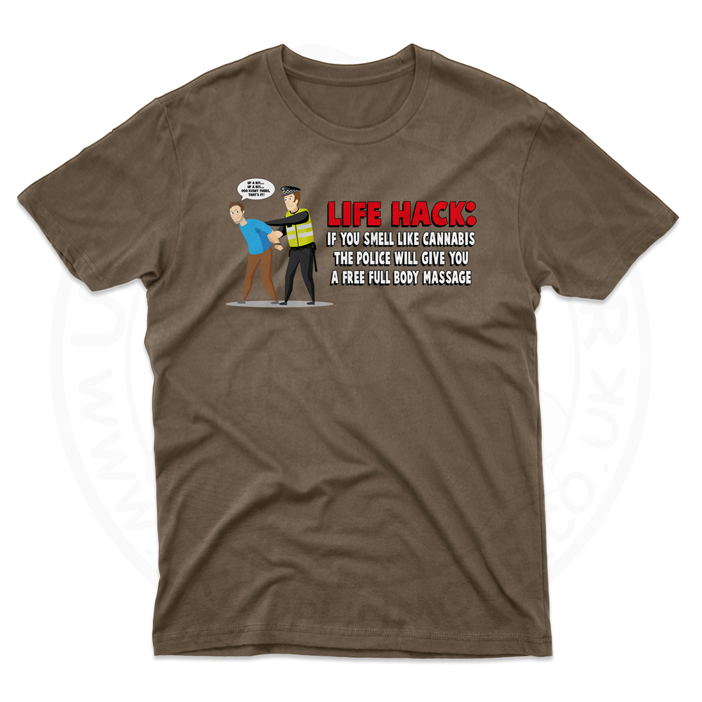 Mens Free Body Massage T-Shirt - Dark Chocolate, 2XL