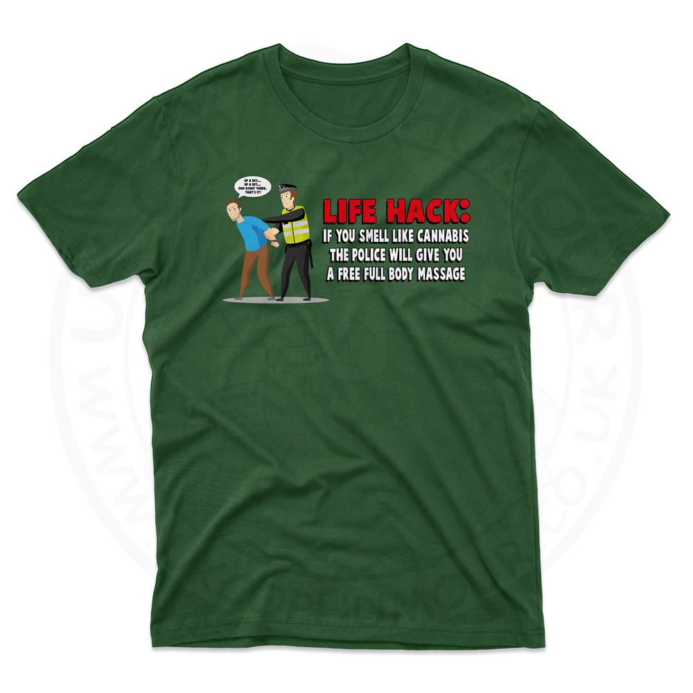 Mens Free Body Massage T-Shirt - Forest Green, 2XL