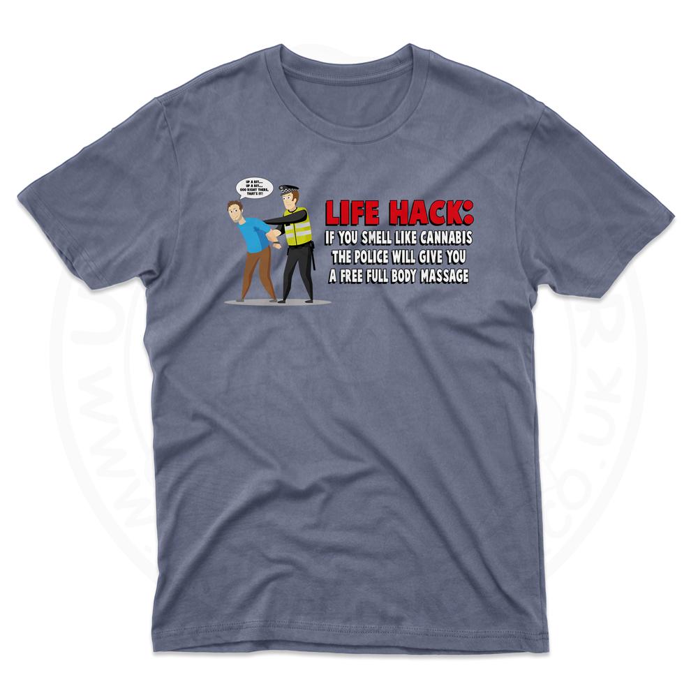 Mens Free Body Massage T-Shirt - Indigo Blue, 2XL