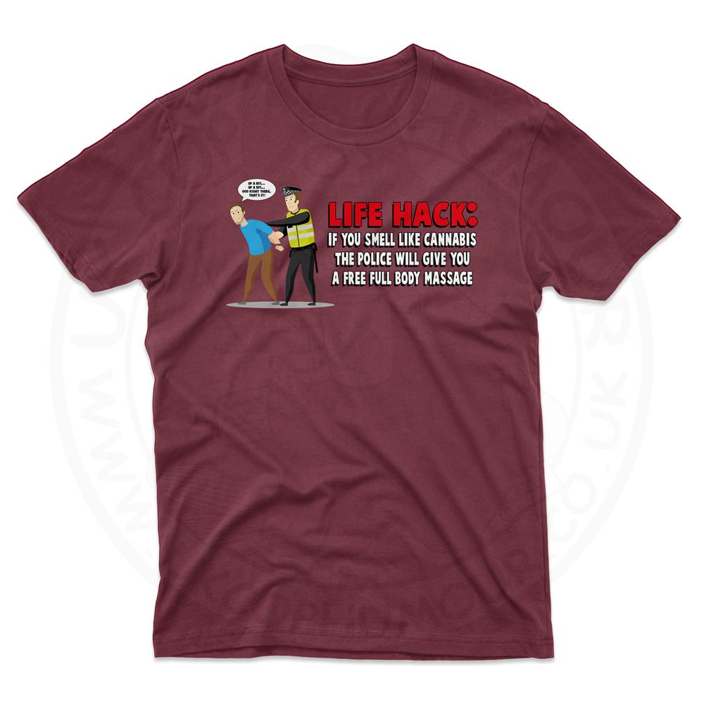 Mens Free Body Massage T-Shirt - Maroon, 2XL