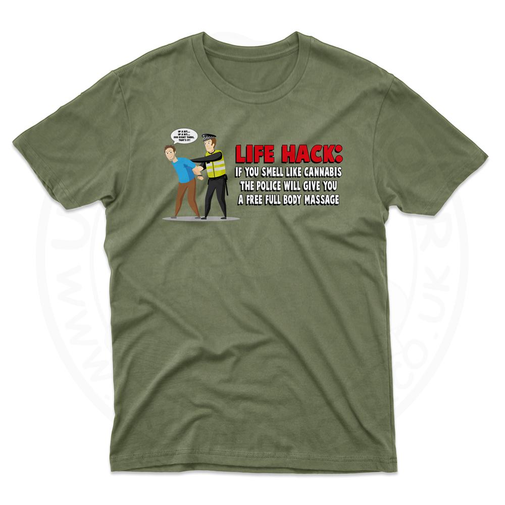 Mens Free Body Massage T-Shirt - Military Green, 2XL