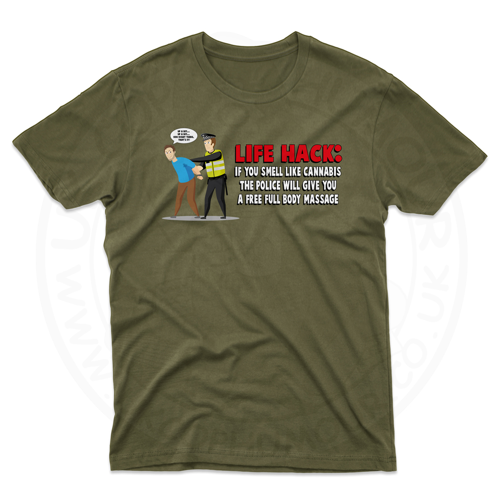 Mens Free Body Massage T-Shirt - Olive Green, 2XL