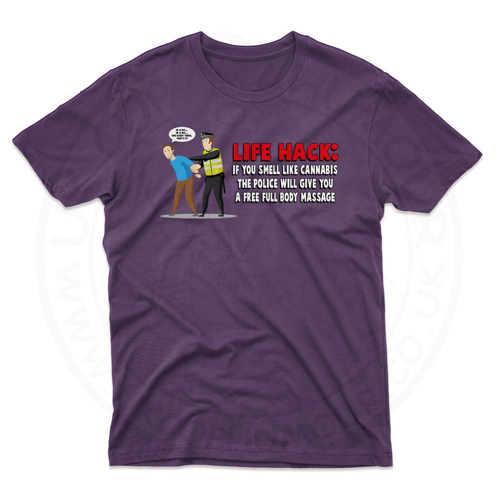 Mens Free Body Massage T-Shirt - Purple, 2XL