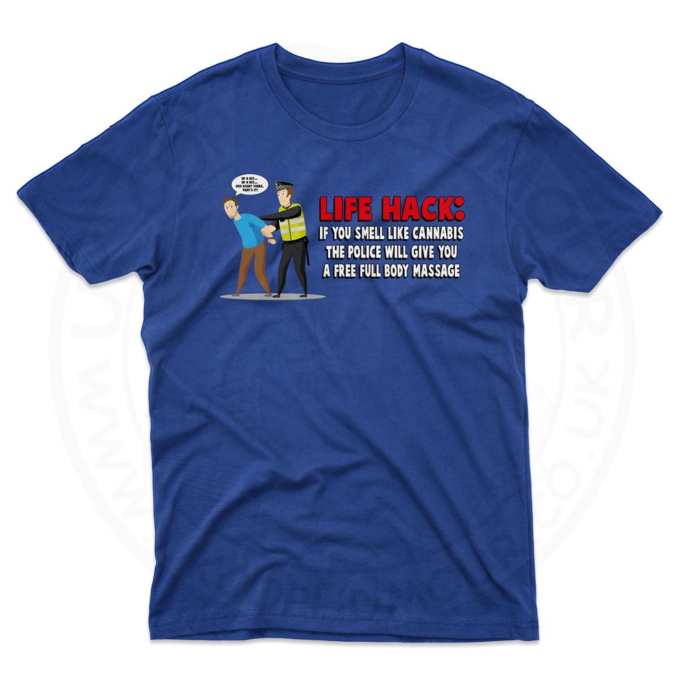 Mens Free Body Massage T-Shirt - Royal Blue, 5XL