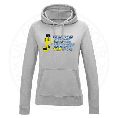 Ladies Holding the Taser Wrong Hoodie - Grey, 18