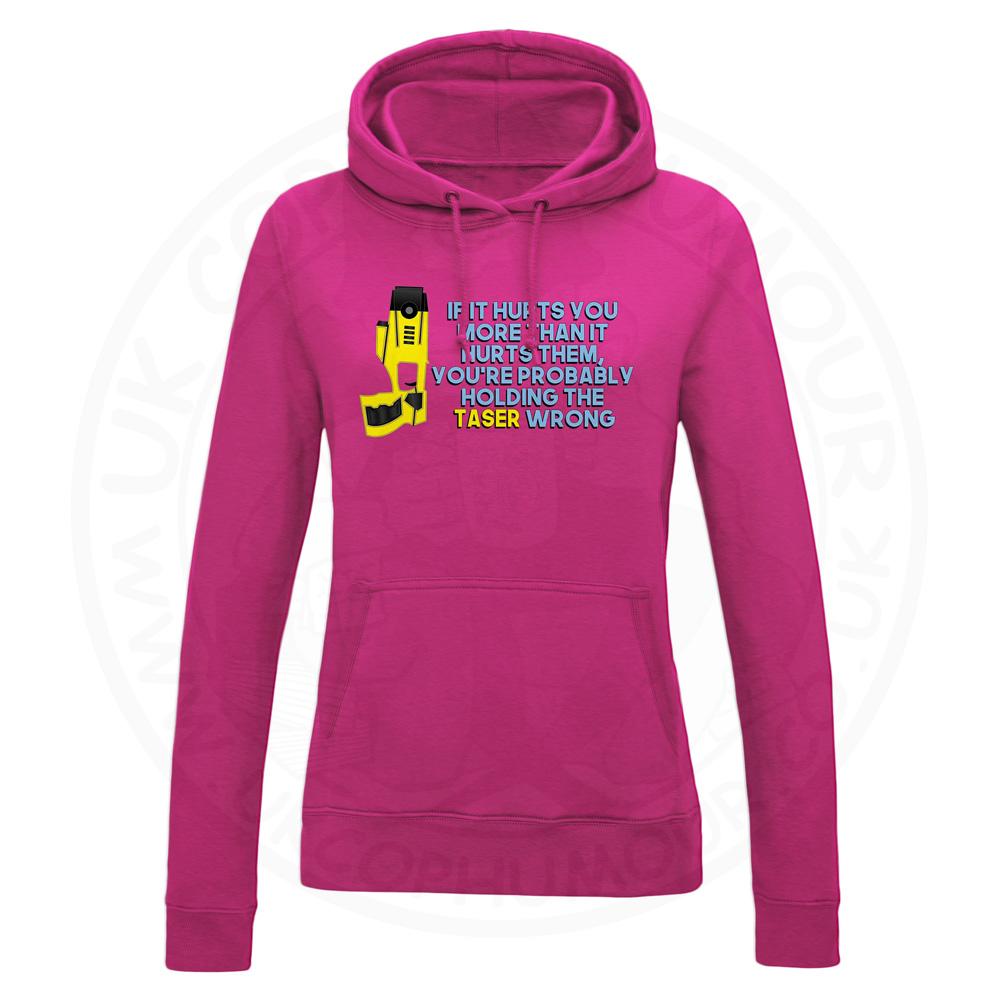 Ladies Holding the Taser Wrong Hoodie - Hot Pink, 18