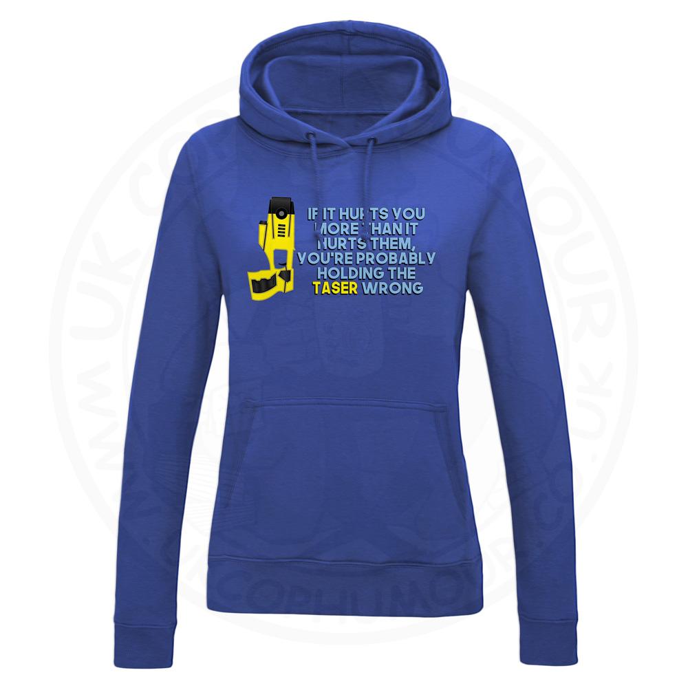 Ladies Holding the Taser Wrong Hoodie - Royal Blue, 18