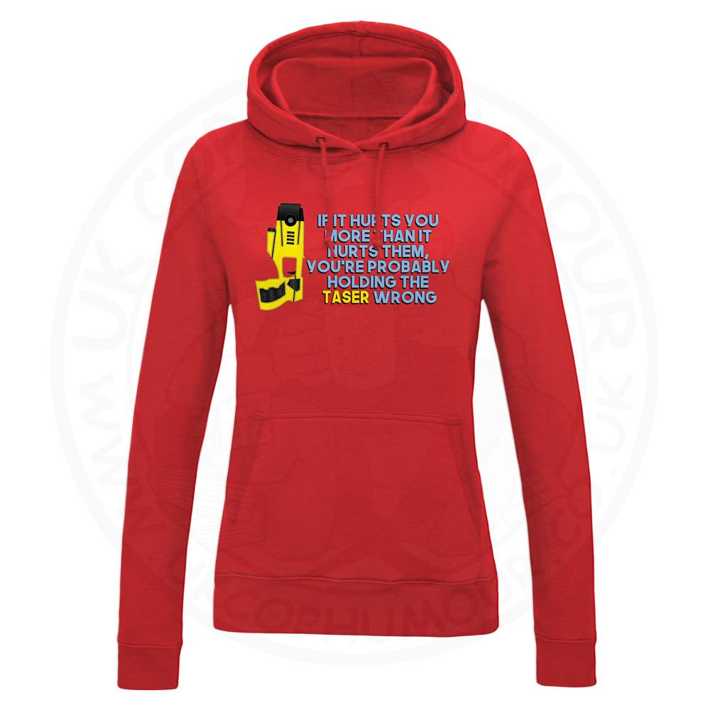 Ladies Holding the Taser Wrong Hoodie - Red, 18