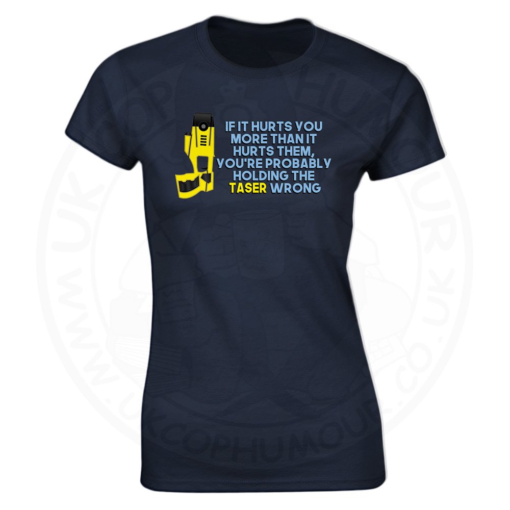 Ladies Holding the Taser Wrong T-Shirt - Navy, 18