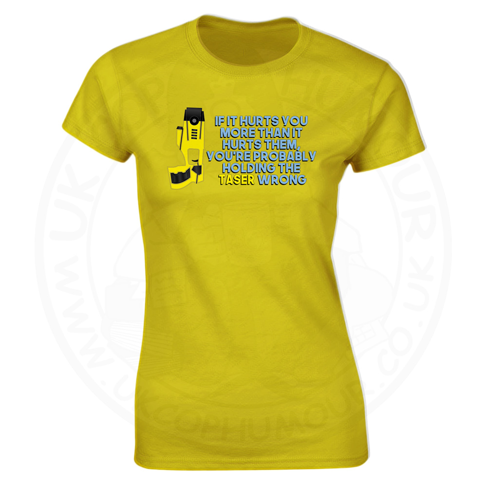 Ladies Holding the Taser Wrong T-Shirt - Yellow, 18