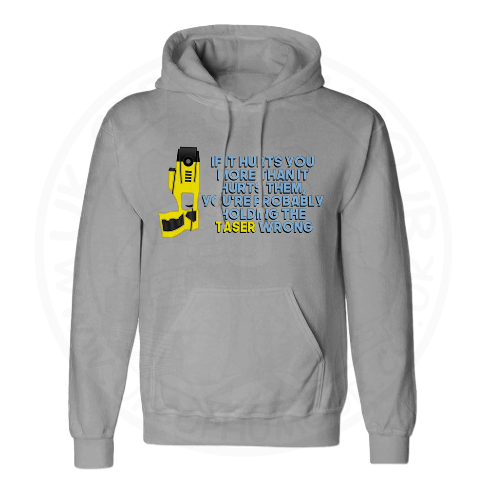 Unisex Holding the Taser Wrong Hoodie - Charcoal, 2XL