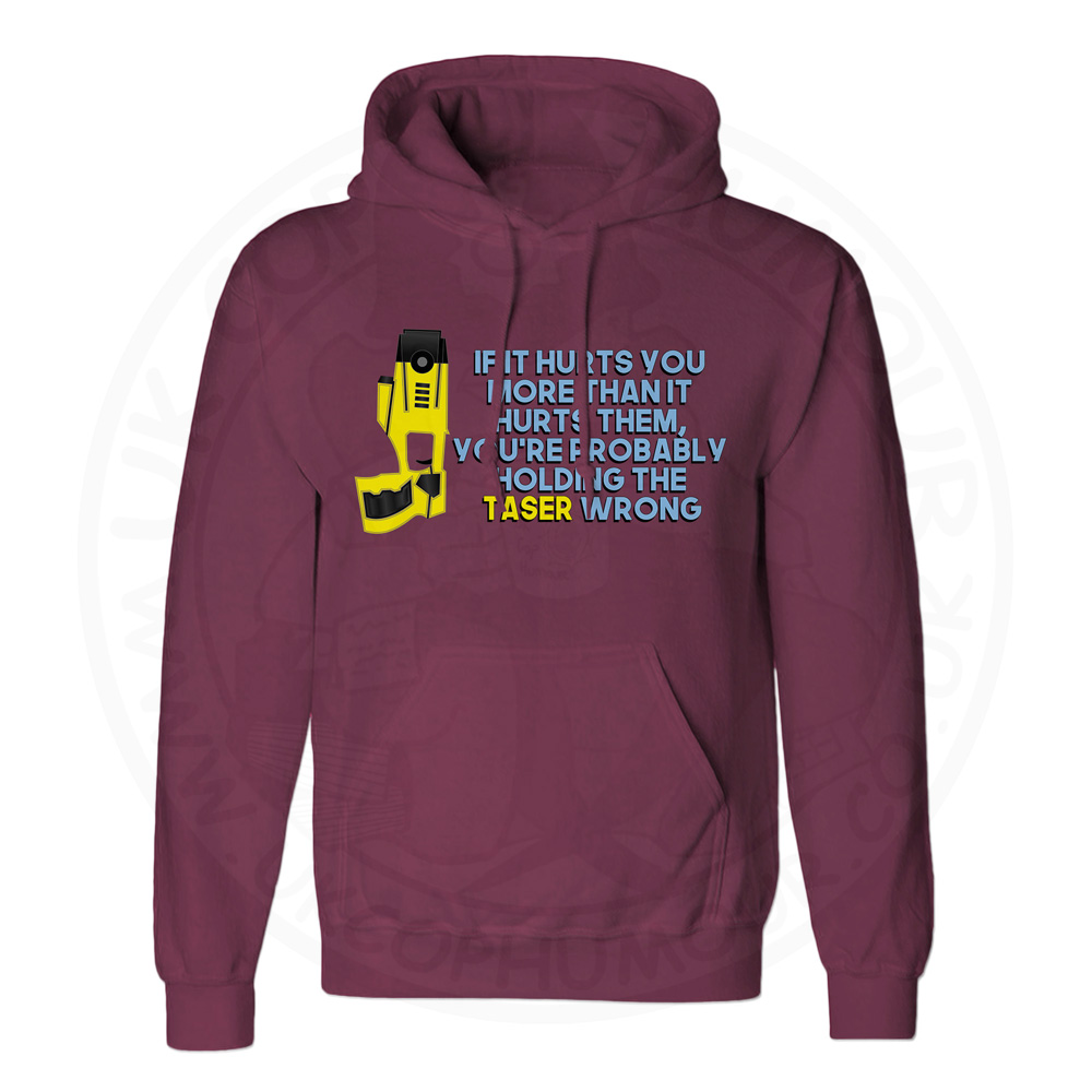Unisex Holding the Taser Wrong Hoodie - Maroon, 2XL