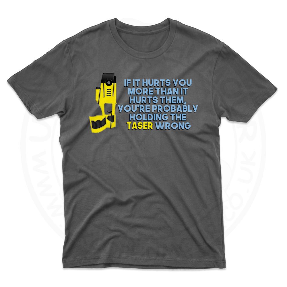 Mens Holding the Taser Wrong T-Shirt - Black, 5XL