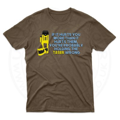 Mens Holding the Taser Wrong T-Shirt - Dark Chocolate, 2XL