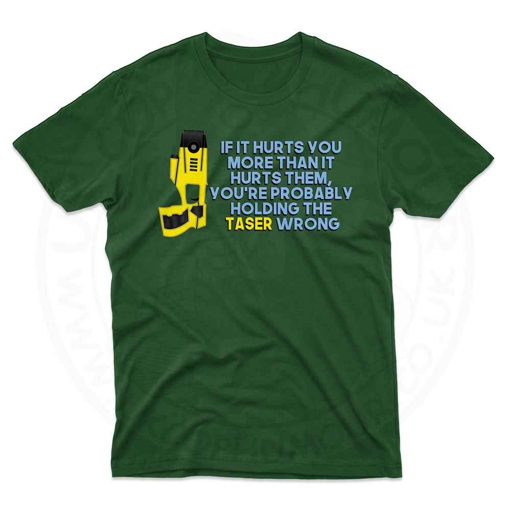 Mens Holding the Taser Wrong T-Shirt - Forest Green, 2XL