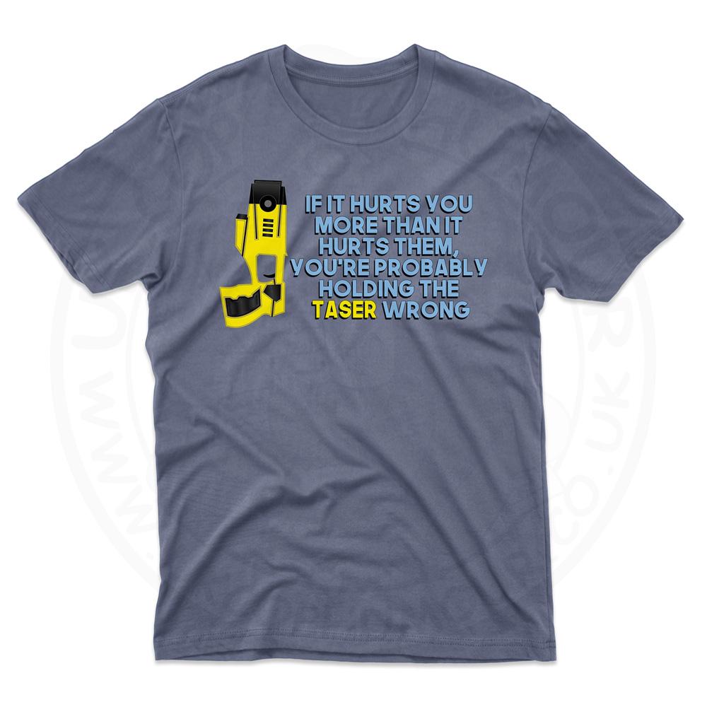 Mens Holding the Taser Wrong T-Shirt - Indigo Blue, 2XL