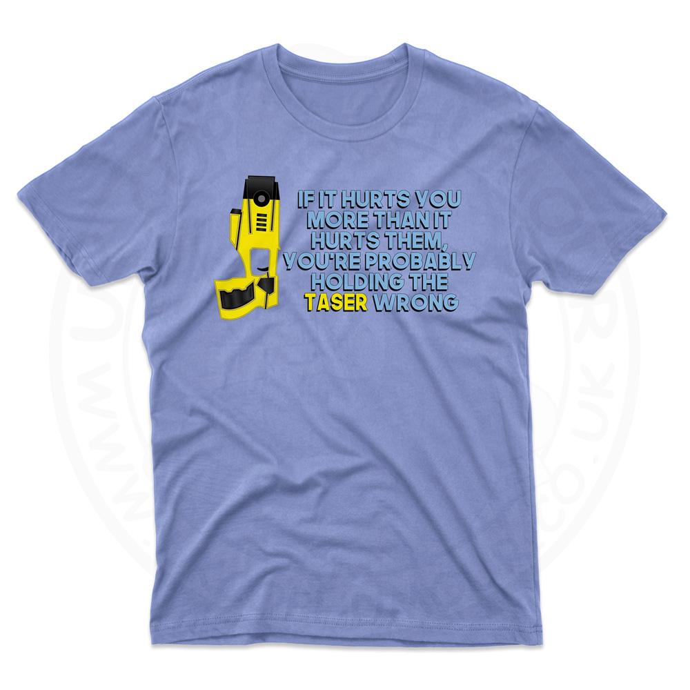 Mens Holding the Taser Wrong T-Shirt - Light Blue, 2XL