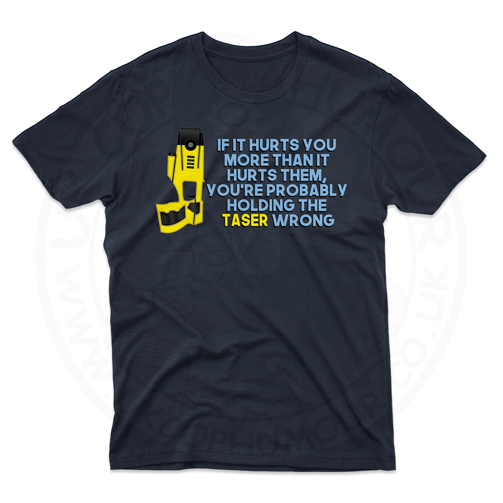 Mens Holding the Taser Wrong T-Shirt - Navy, 5XL