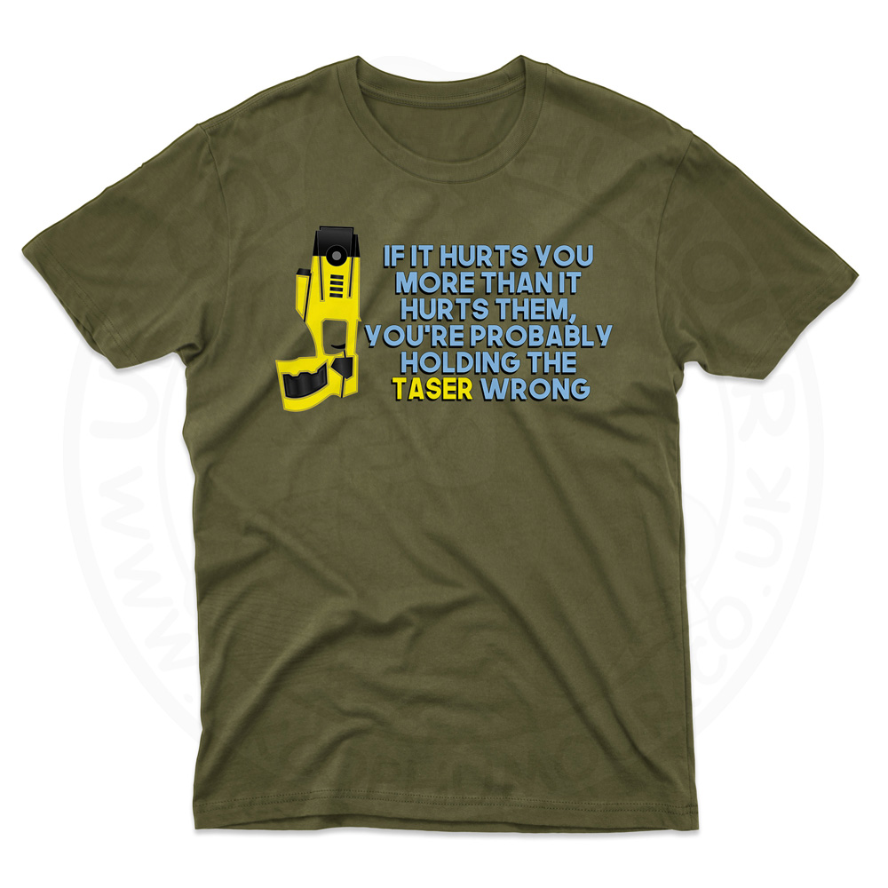 Mens Holding the Taser Wrong T-Shirt - Olive Green, 2XL