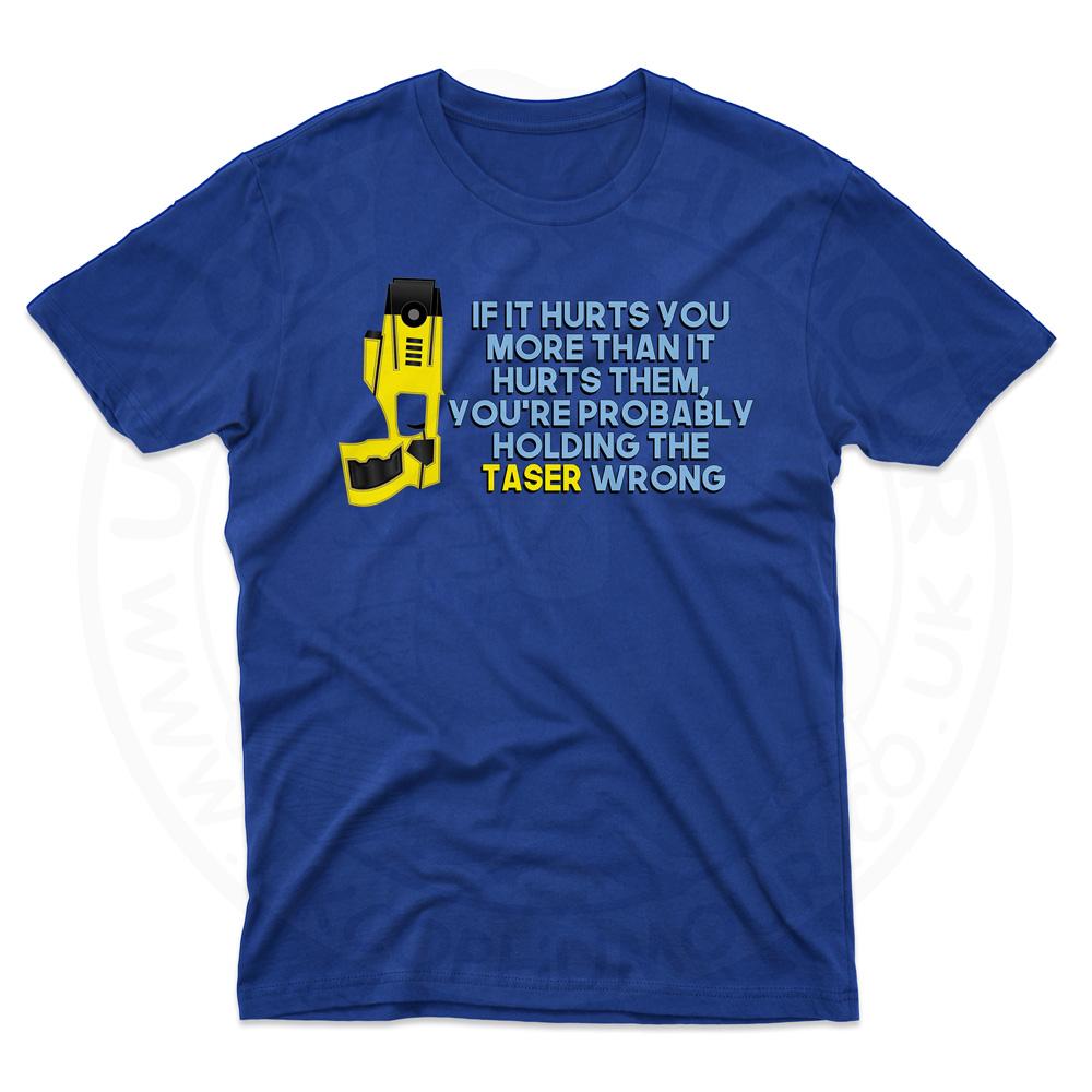 Mens Holding the Taser Wrong T-Shirt - Royal Blue, 5XL