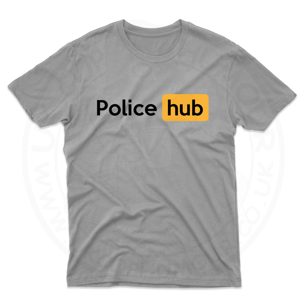 Mens Police Hub T-Shirt - Grey, 5XL