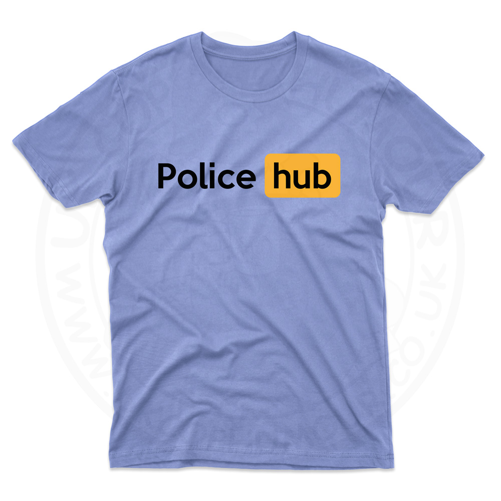 Mens Police Hub T-Shirt - Light Blue, 2XL