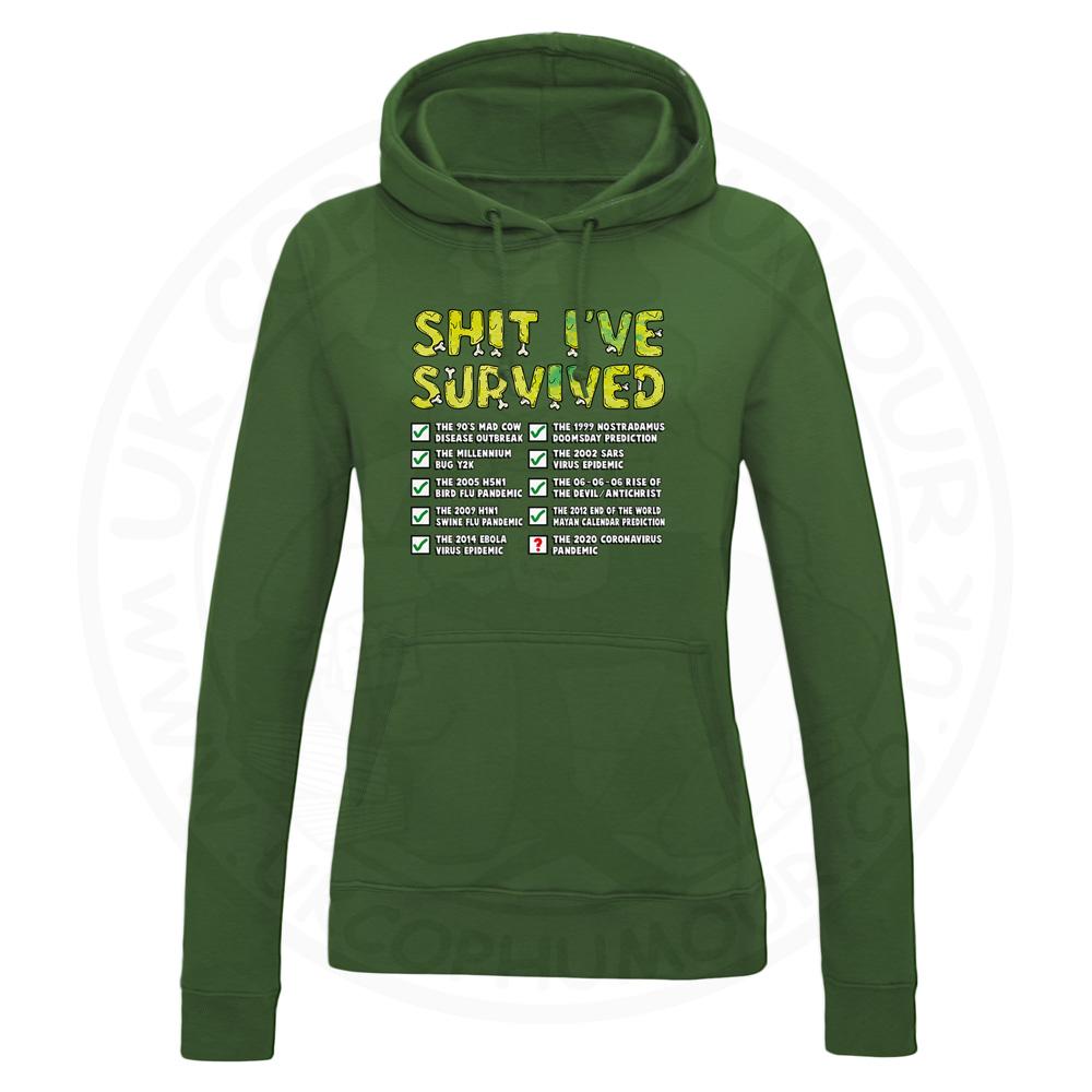 Ladies Ive Survived Hoodie - Bottle Green, 18