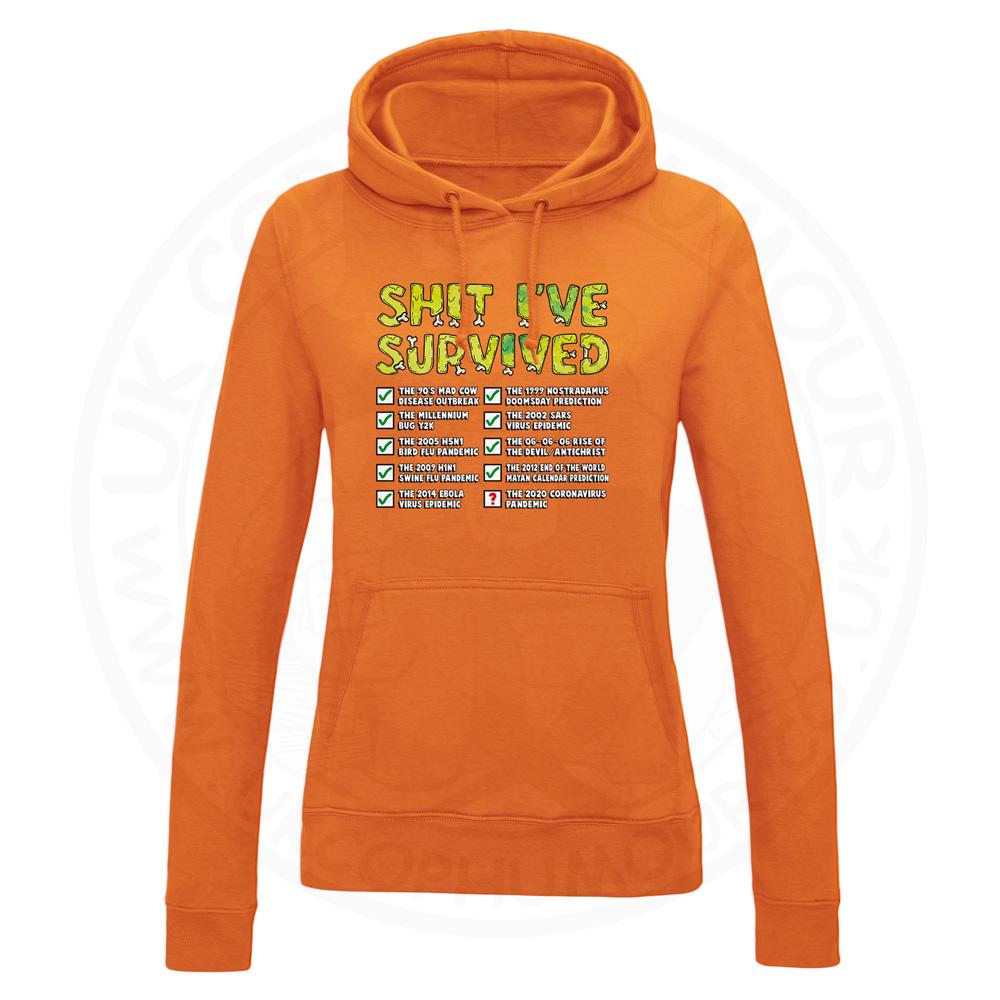 Ladies Ive Survived Hoodie - Orange, 18