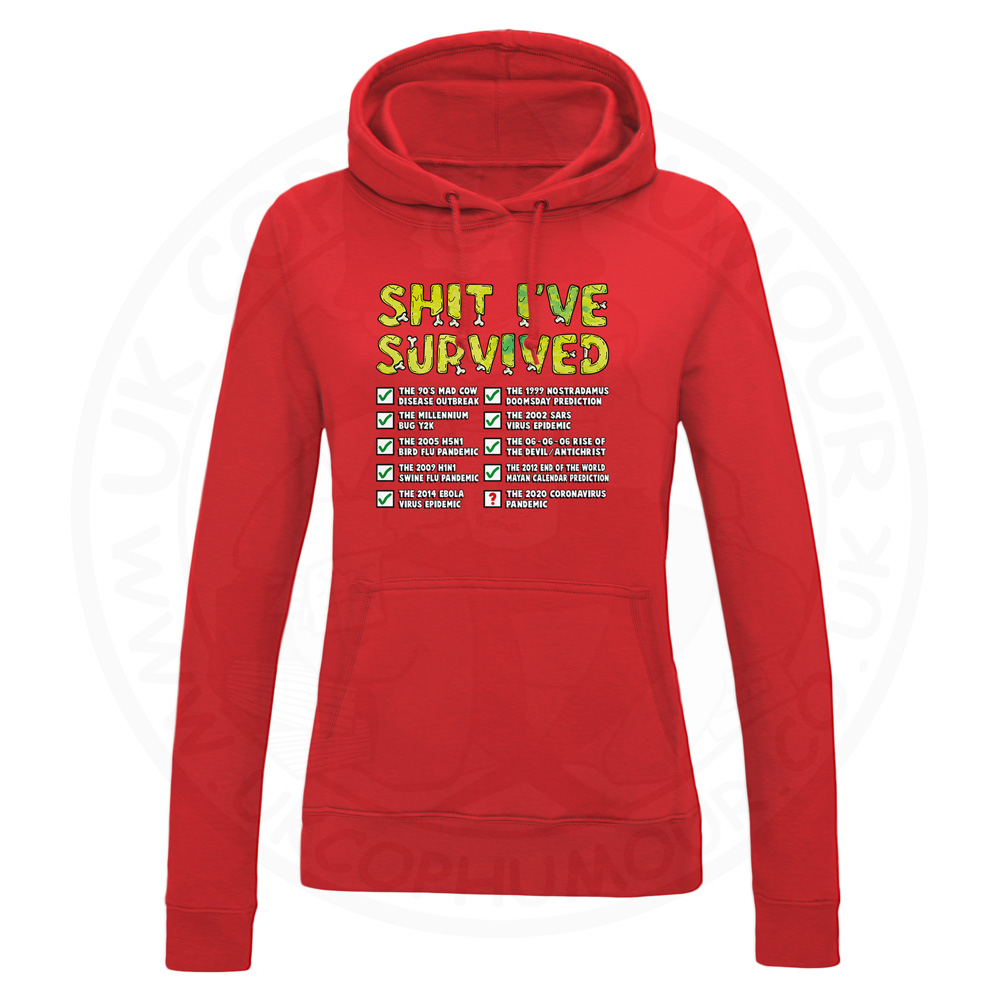 Ladies Ive Survived Hoodie - Red, 18