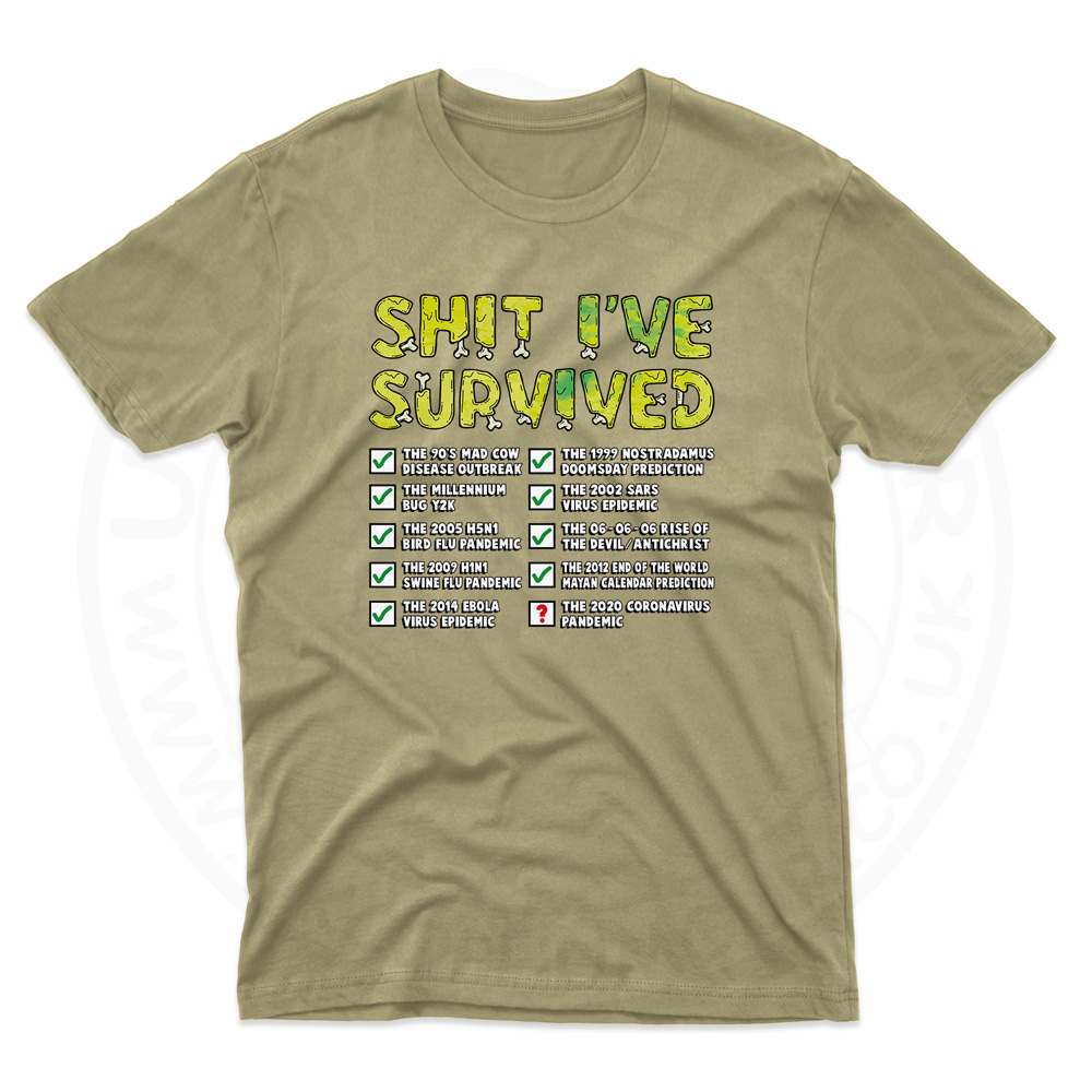 Mens Ive Survived T-Shirt - Desert, 2XL