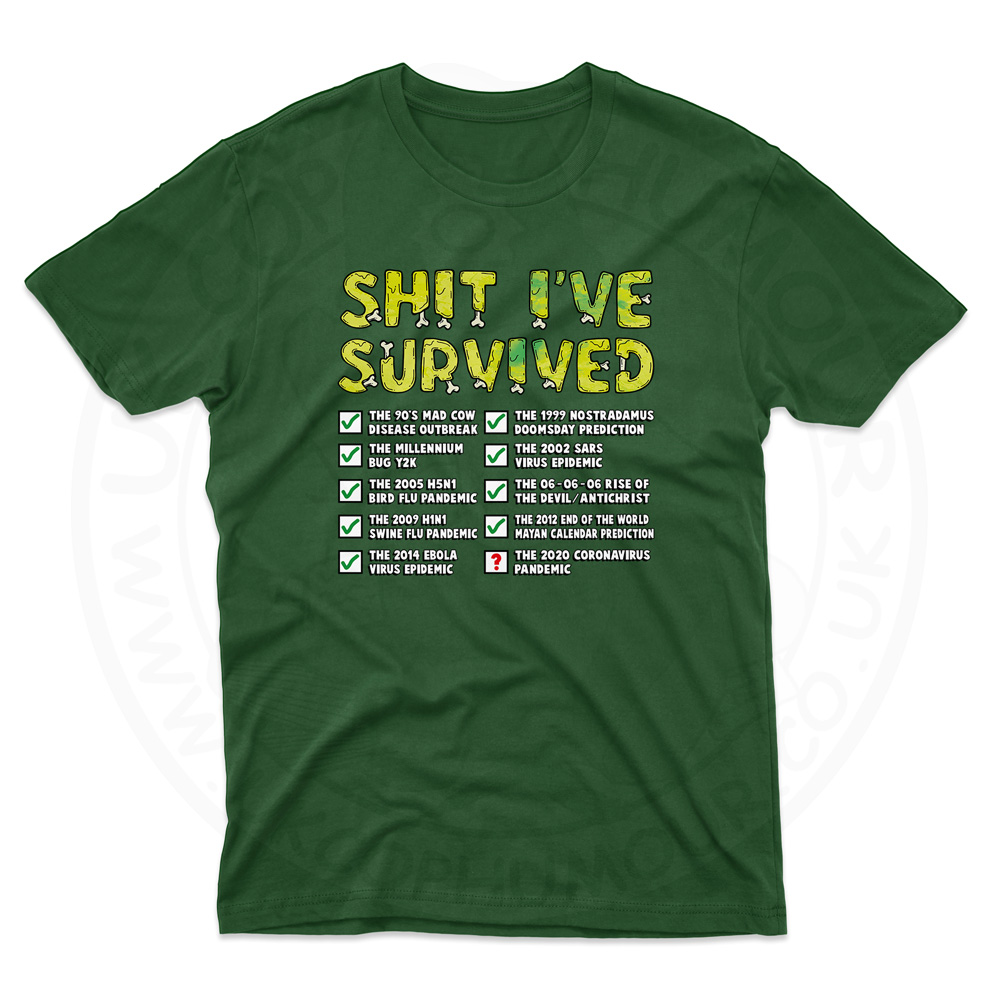 Mens Ive Survived T-Shirt - Forest Green, 2XL