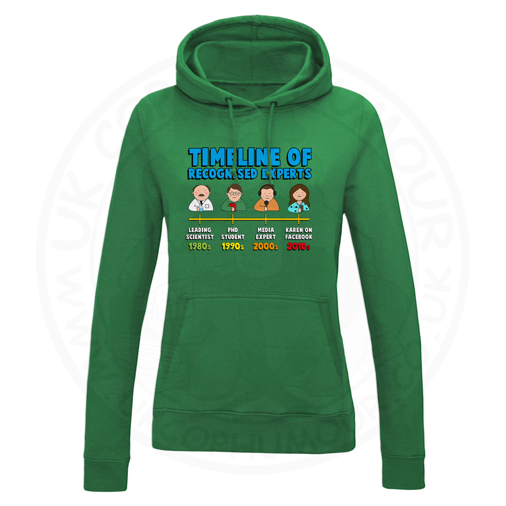 Ladies Timeline of Experts Hoodie - Kelly Green, 18