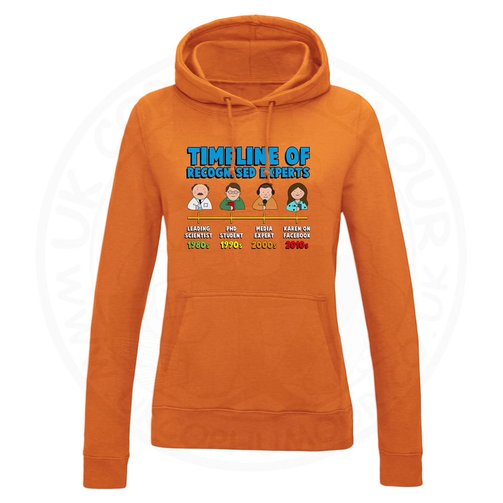 Ladies Timeline of Experts Hoodie - Orange, 18