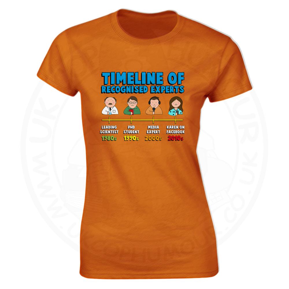 Ladies Timeline of Experts T-Shirt - Orange, 18