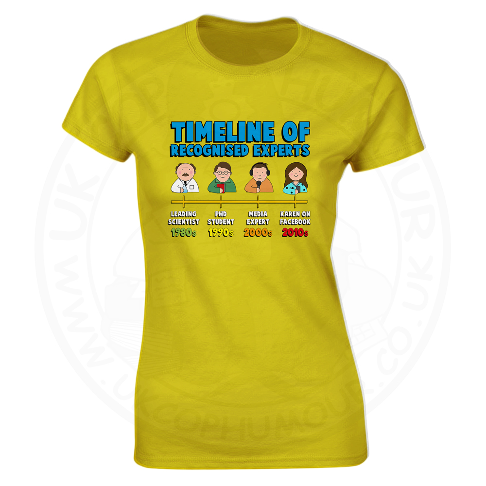 Ladies Timeline of Experts T-Shirt - Yellow, 18