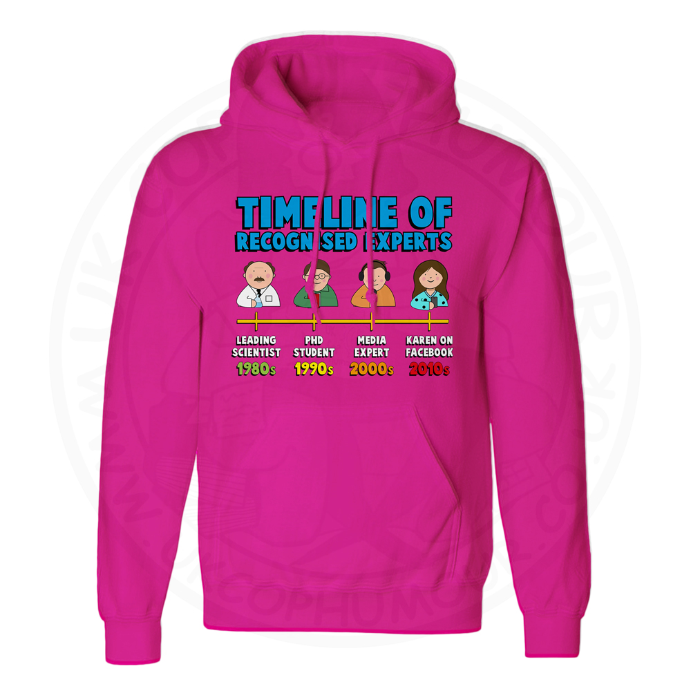 Unisex Timeline of Experts Hoodie - Hot Pink, 2XL