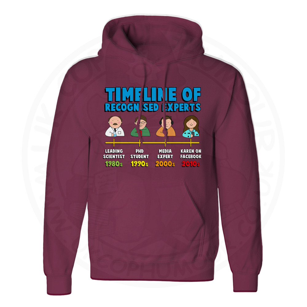Unisex Timeline of Experts Hoodie - Maroon, 2XL