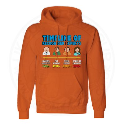 Unisex Timeline of Experts Hoodie - Orange, 2XL