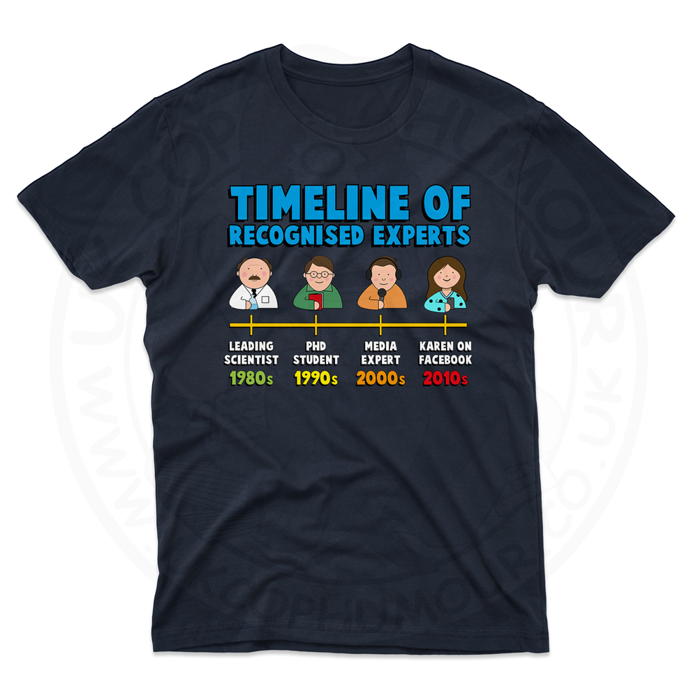 Mens Timeline of Experts T-Shirt - Navy, 5XL