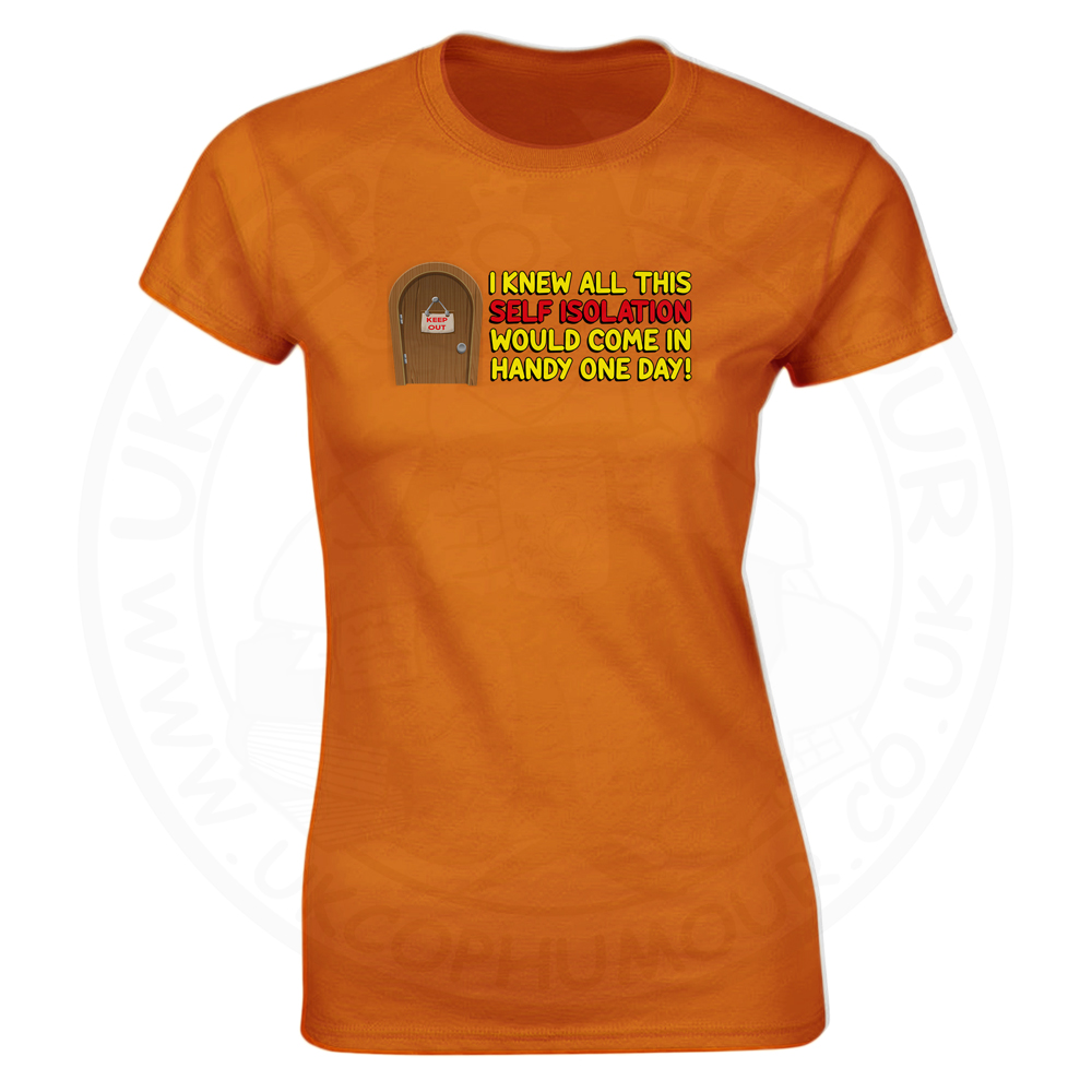 Ladies Self Isolation T-Shirt - Orange, 18