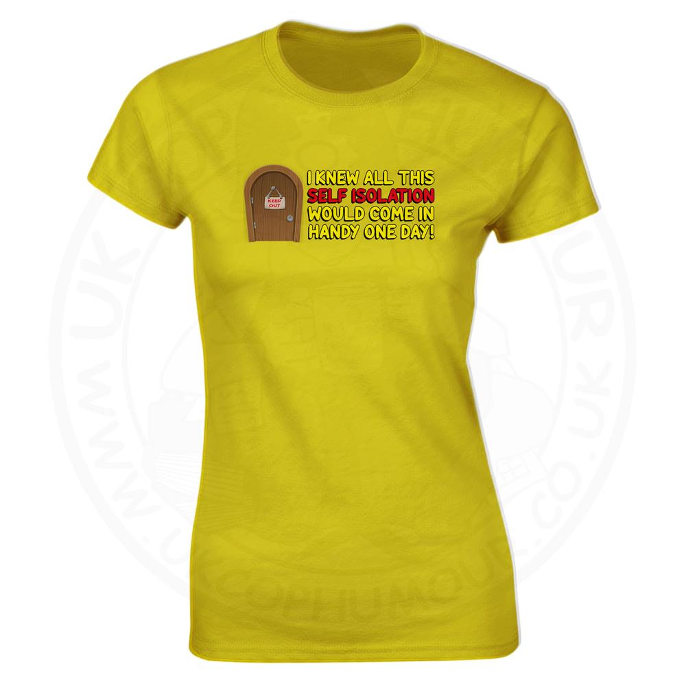 Ladies Self Isolation T-Shirt - Yellow, 18