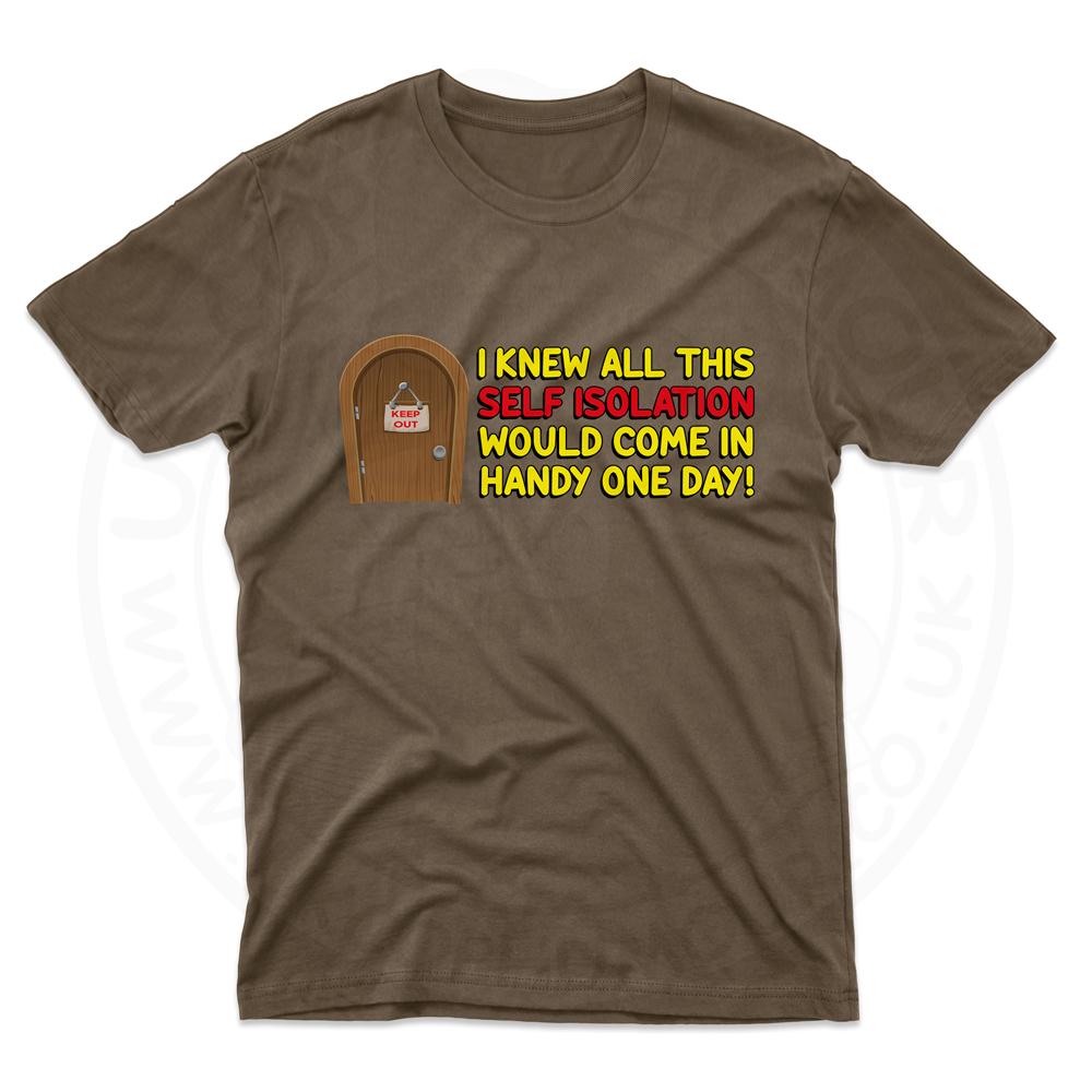 Mens Self Isolation T-Shirt - Dark Chocolate, 2XL