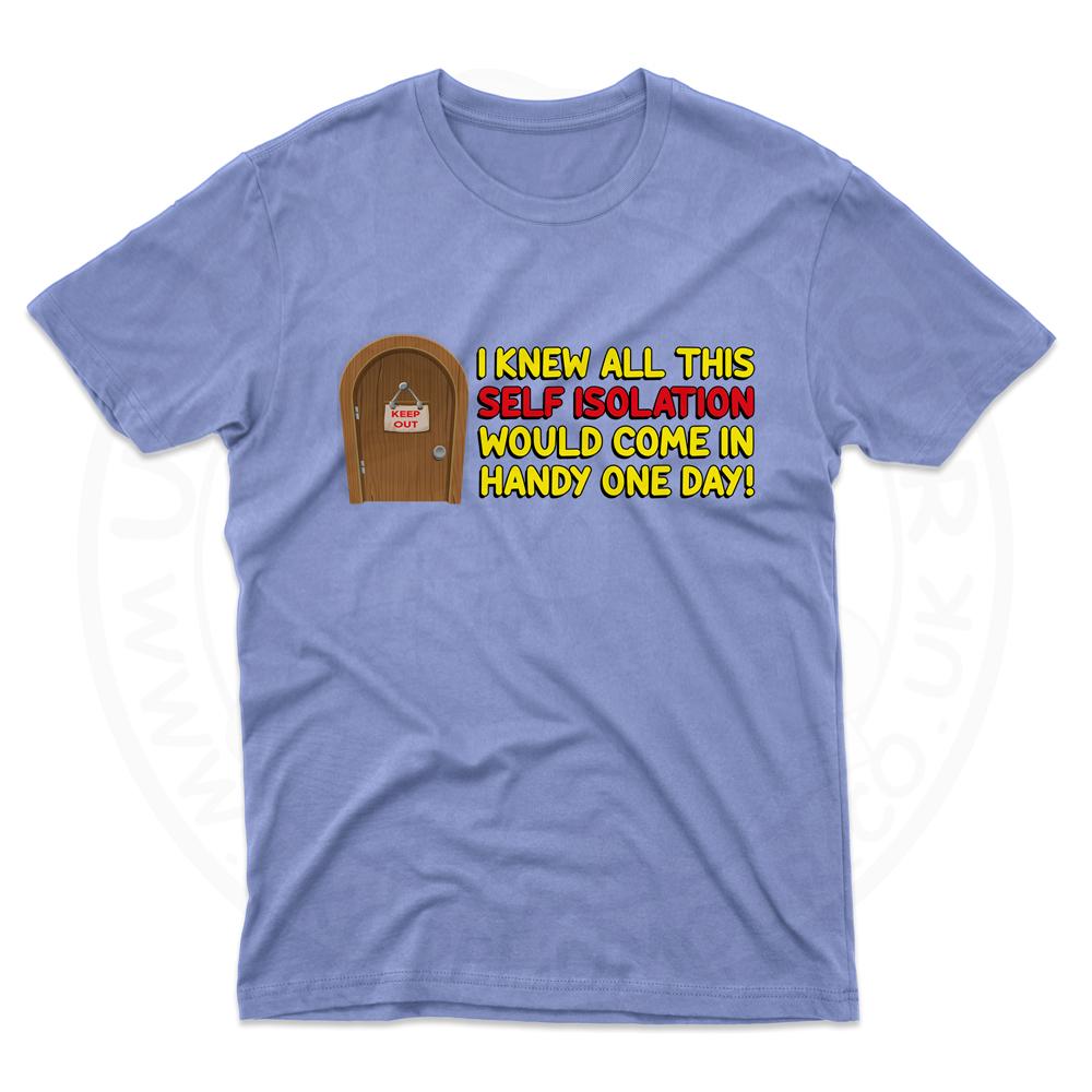 Mens Self Isolation T-Shirt - Light Blue, 2XL