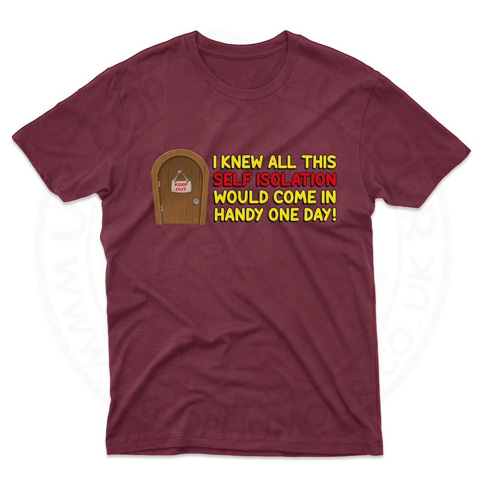 Mens Self Isolation T-Shirt - Maroon, 2XL