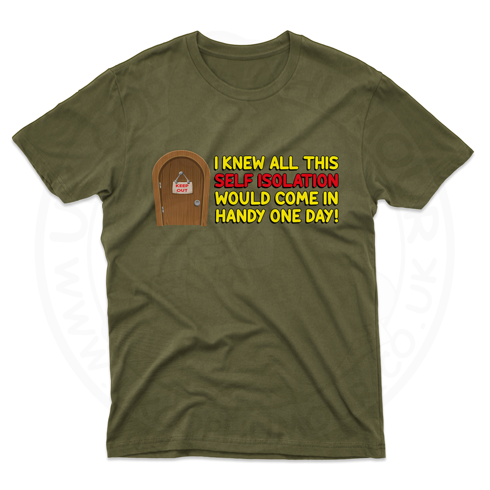 Mens Self Isolation T-Shirt - Olive Green, 2XL