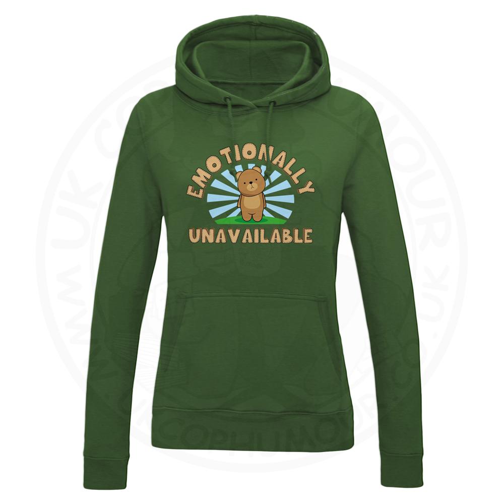 Ladies Emotionally Unavailable Hoodie - Bottle Green, 18