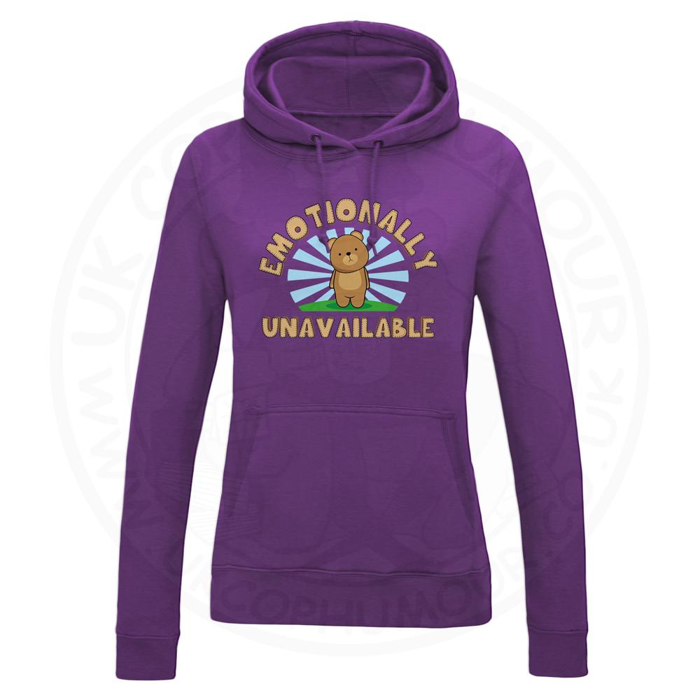 Ladies Emotionally Unavailable Hoodie - Purple, 18