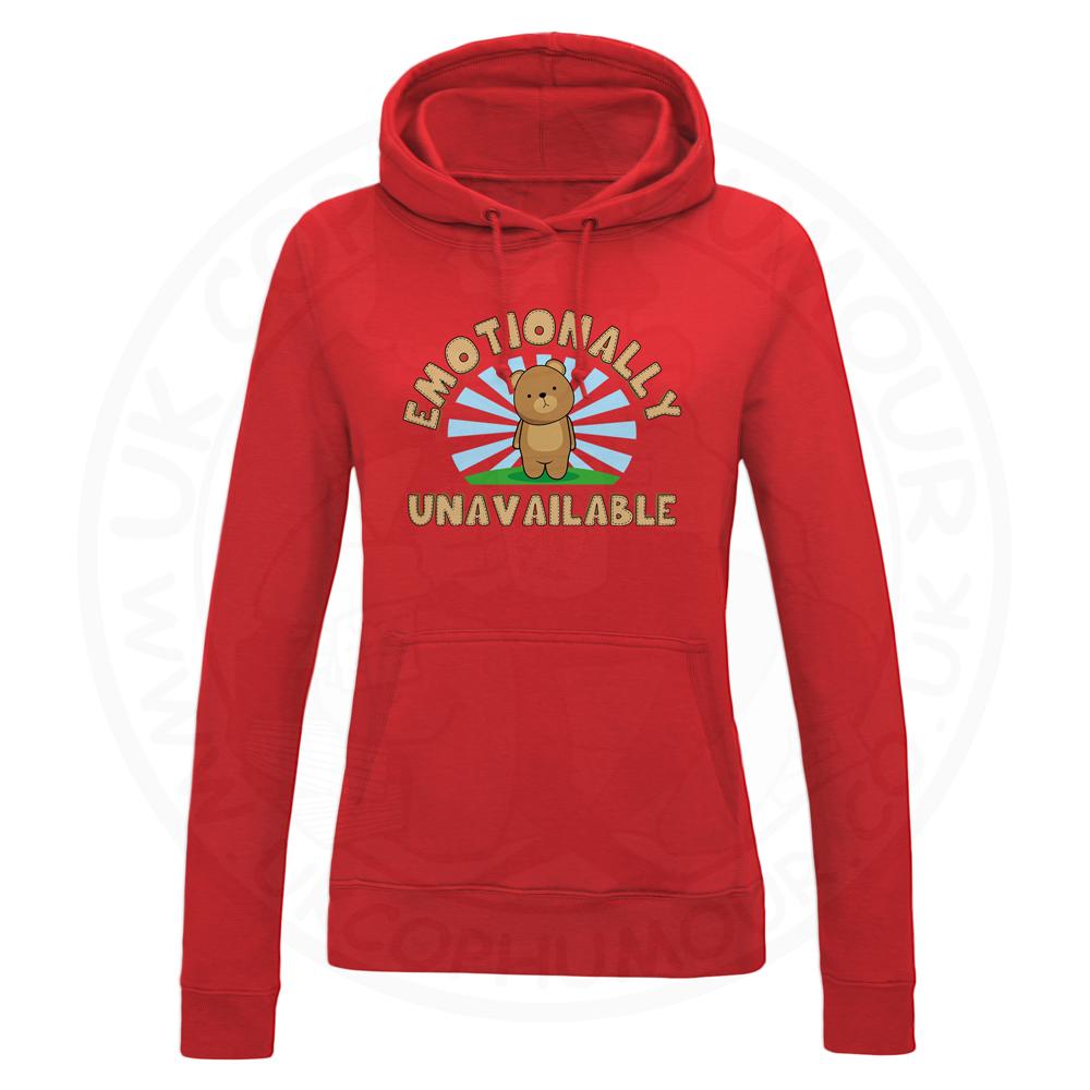 Ladies Emotionally Unavailable Hoodie - Red, 18